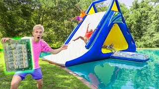 LAST TO LEAVE WATERSLIDE WINS $1 MILLION UNBREAKABLE BOX!! (Pond Monster Spotted Hiding)