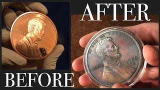 Antiquing 5 oz Copper Round - 1909 S VDB Wheat Penny