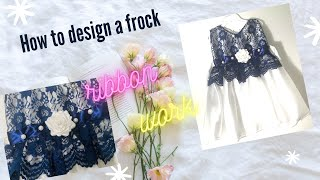 DIY How to design a frock | Baby frocks | Handmade designs with ribbon | Satin ribbon work | NewYou