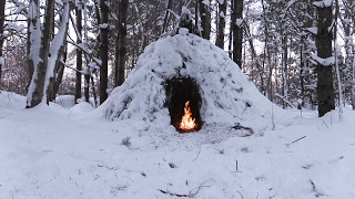 Wikiup Shelter Build - Snow Storm, Forest Camp | Winter Bushcraft