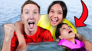 CAN SHE SURVIVE an OVERNIGHT POOL CHALLENGE? Spending 24 Hours Swimming for Friends Last Name!