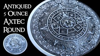 Antiqued 5 Ounce Aztec Calendar Silver Round