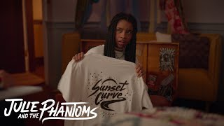Julie and the Phantoms - Flynn find a Sunset Curve T-shirt in Julie's mom trunk (Episode 8)