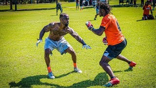 #1 RECEIVER IN THE COUNTRY DOES 1ON1's VS NFL PLAYERS!! (ANKLE WARNING)